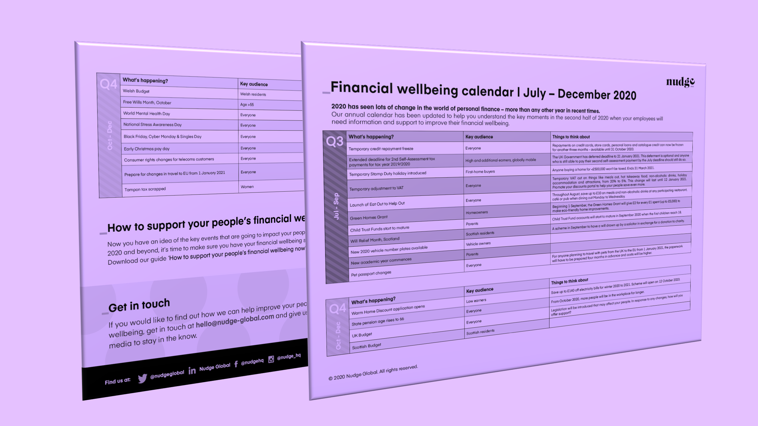 UK Financial wellbeing calendar 2020